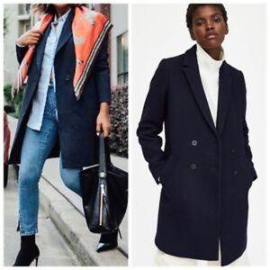Zara trf navy masculine coat can